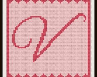 Letter V C2C Graph, Letter V Baby Afghan, Baby Shower Gift, Corner to Corner, Crochet Pattern