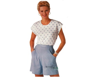 """Butterick 4170 Womans Loose-Fitting Top and Shorts with Pockets Sewing Pattern Size 16-24 Bust 38-46""""/ 97-117cm Vintage 1980s UNCUT"""
