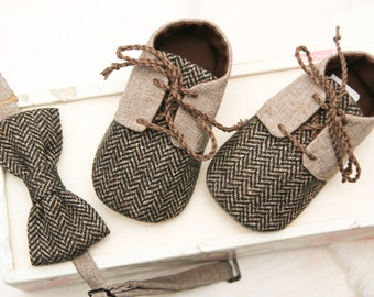 BLACK or BROWN baby boy newsboy outfit shoes, bow tie, Christmas shoes, herringbone shoes, formal baby outfit, special occasion crib booties