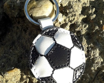 Soccer ball keychain - leather - football - FREE shipping