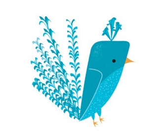Little Birdie #3 -  - 6x6 Giclee Art Print by Kerry Beary Mid Century Modern Bird Blue Bird