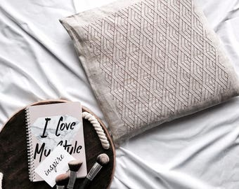 Embroidered Diamond Geometric Pillow Case - Pillow Cover