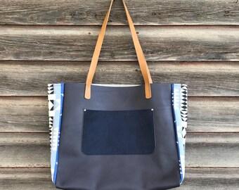 Pendleton® leather tote bag, large leather shoulder bag, handcrafted leather bag, diaper bag,