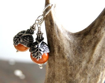 Acorn Earrings with Redwood Beads and Antiqued Silver Bead Caps