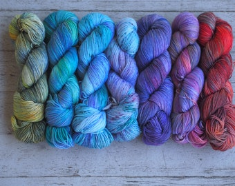 Fade Set of 7- shades from Green, blue, Ourple Orange Hand Dyed Yarn // Sock Fingering Weight Yarn // Merino Shawl or Sweater Set