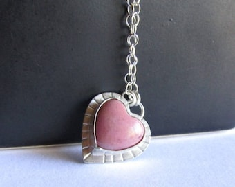 Small Rhodonite Heart Necklace - Pink Heart Necklace - Valentine's Day Heart Necklace -  Pink Heart Jewelry