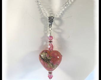 2400, Pink heart necklace, pink hearts, valentine necklace, lampwork heart beads, pink heart jewelry, pink necklaces, pendant necklaces,