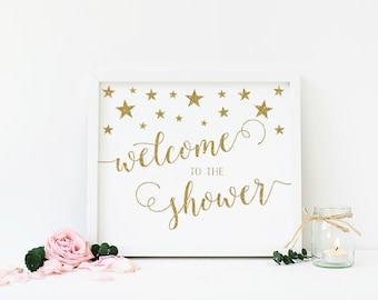 Twinkle Twinkle Little Star Baby Shower Welcome Sign, Gold Glitter Welcome Baby Shower Sign, Welcome To The Shower, Printable - SG1
