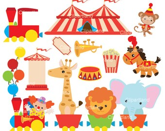 INSTANT Download. Circus train clip art. Ccirc_29. Personal and commercial use.