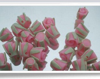 Lot 15 pink roses in fimo