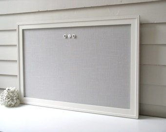 "Linen BULLETIN BOARD - MAGNETIC Framed Magnet Memo Board in Pale Gray Fabric - 20.5 x 26.5"" with Handmade Frame - Message Board"