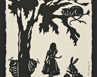 ALICE IN WONDERLAND Papercut  - Hand-Cut Silhouette