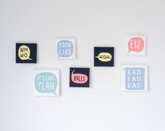 """Funny Speech Bubble Paintings - 3""""x3"""" and 4""""x4"""""""