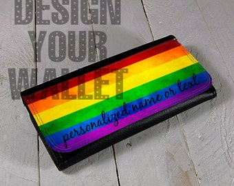 Womens Wallet Leather bi-fold personalized rainbow wallet. money checkbook mothers day card holder wedding gift.