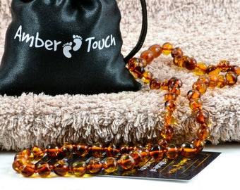 Baltic Amber Adult Necklace + AMBER EARRINGS, Cognac Color, 47 cm (18.5 inches) , Made from Polished Baroque Amber Beads