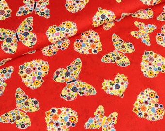 Cotton fabric butterflies and hearts on red (8,90 EUR / meter)