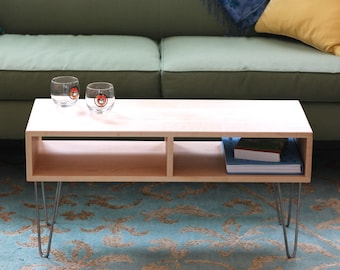 Solid Maple Coffee Table with Stainless Hairpin Legs, Scandinavian Modern
