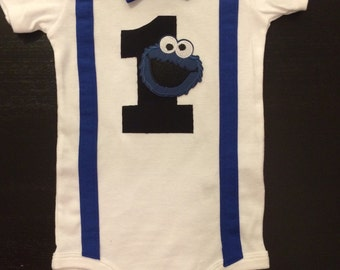 Cookie Monster First Birthday Bow tie Onesie