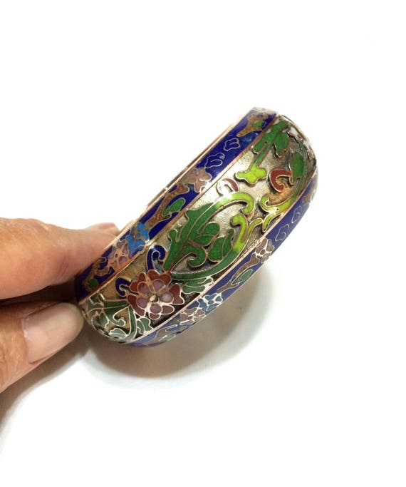 Chunky Cloisonne & Champleve Bangle, Solid Brass Enamel Stacking Bracelet, Cobalt Green Red Flowers, 1940s Vintage Chinese Export Jewelry
