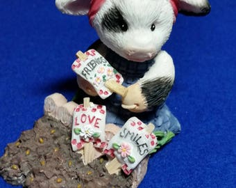 """Mary's Moo Moo's """"Sowing The Seeds Of Friendship"""" Figurine/MM 207004/Mary Moo Moo's/Cow In Garden Figurine/Cow Figurine/Friendship Figurine"""