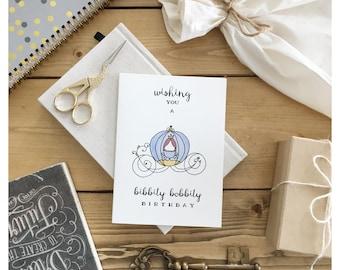 Cinderella // birthday card, disney birthday card, disney princess, princess card, cinderella card, childrens birthday card, happy birthday