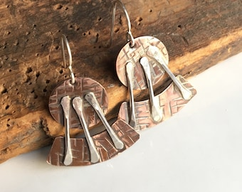50% OFF Copper and Sterling Earrings, Dangle and Drop Earrings, Soldered Earrings, Metalwork Earrings, Unique Earrings, Rustic
