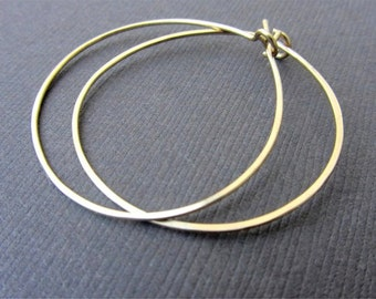 Medium Gold Hoop Earrings, Hammered Gold Filled Hoop Earrings, Gold Hoops, 14KT Gold Filled Hoop Earrings