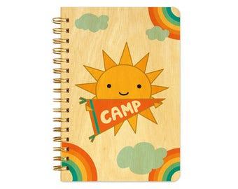 Sunny Camp Pocket-Size Notebook - Camp Notepad - Camp Journal - Real Birch Wood Notebook - J1765