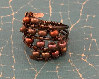 Wire Wrapped Ring- Copper Ring - Wire Ring - Beaded Ring - Metallic Beads - Vintage Looking Ring - Vintage Bronze  - Hammered Wire