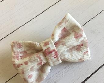 Pink + cream watercolor mini bow