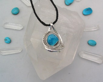 Kingman Turquoise Pendant Wire Wrapped PendantTurquoise Wire Wrap Heady Wire Wrap Wire Wrap Pendant Sterling Silver