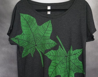 Women's Blouse, Charcoal, with Two (2) Block Printed Green Kukui (Hawaiian Tree) Leaves