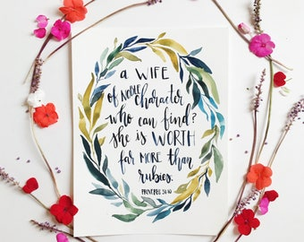 Hand lettered watercolor painting- Proverbs Woman