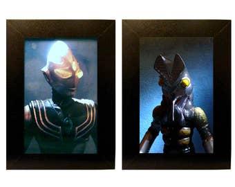 Framed Ultraman and Baltan Toy Photograph Set
