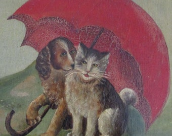 Antique Oil Painting Dog Cat Folk Art French 1920's