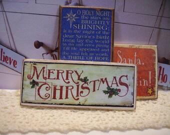 Merry Christmas Miniature Wooden Plaque