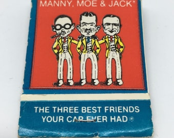 PEP Boys Match Book - Unstruck Matchbook - Manny, Moe and Jack The Three Best Friends Your Car Ever Had