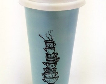 Large 20oz Hand Painted Travel Mug with Teacup Stack