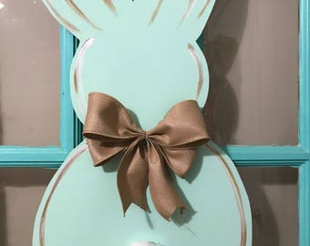 Choose Your Color Easter Bunny Wooden Door Hanger with Cottontail