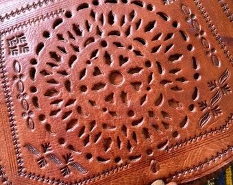 Brown Leather Bag, Moroccan Leather Bag, Handtooled Leather Bag, Cross Body Leather Bag, Handmade Brown Shoulder Handbag, Leather Boho Bag