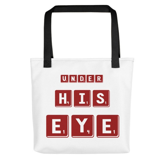 Under His Eye Red and White Large Tote bag