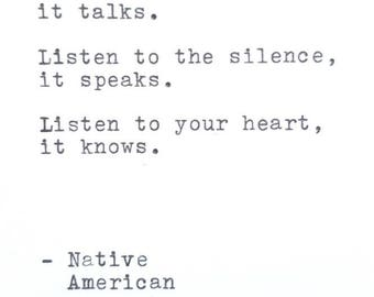 Matted Typewriter Quote - Native American Proverb - Ready to Frame on Acid Free Paper