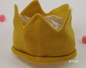 Newborn Baby Toddler Kids Knit Crown Hat Headband head pieces Accessory Photo Prop.Gold Yellow