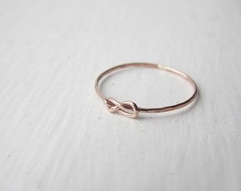 Thin Infinity Knot Ring Rose Gold Fill