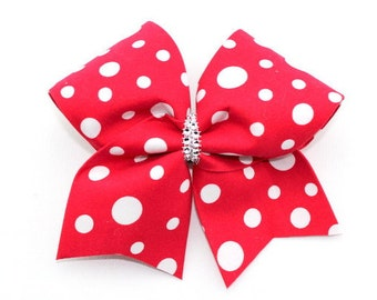 Red and White Dot Bow