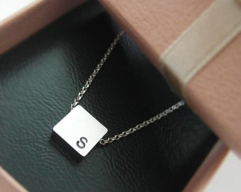 Initial Square Necklace in white gold, personalized necklace, Hand Stamped Initial