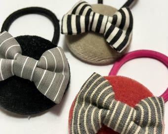 Handmade baby, toddler, girls velvet covered button Ponytail holder(ribbon) - your choice