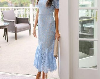 Michelle Skyfall Lace Midi Dress