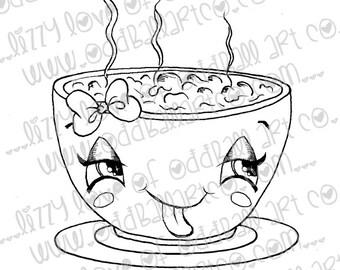 INSTANT DOWNLOAD Digi Stamp Digital Image Cute Big Eye Kawaii Vegan Chili Bowl Image No.179 by Lizzy Love