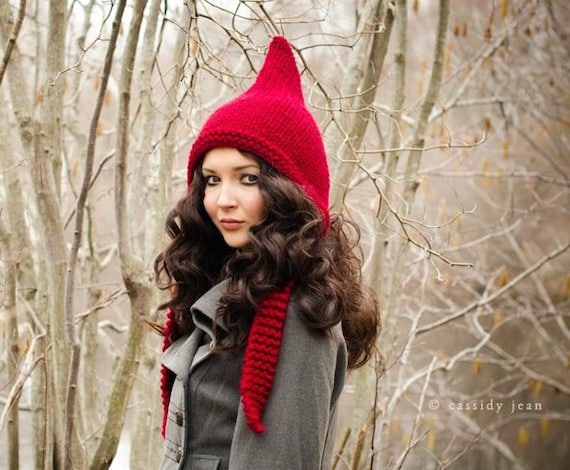 Red Chunky Knit Hat Women Red Pixie Hat Cranberry Red Knit Hat - Red Hat Red Ear Flap Hat - Womens Accessories Fall Fashion